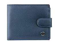 Классический мужской кошелек синего цвета с блоком для документов