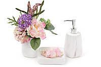 Готовый подарок на новоселье: набор в ванную из 3х предметов Мрамор Бежевый, фото 1