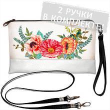 Стильная сумка-клатч Цветы 2 ручки в комплекте
