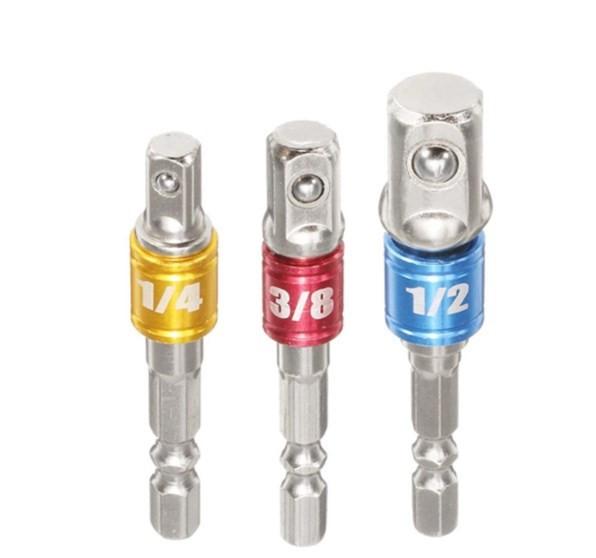 Drillpro 3Pcs набор из 3 адаптеров-переходников для шуруповерта. Шестигранный хвостовик 1/4