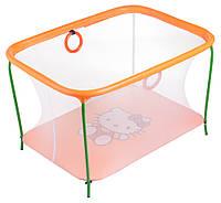 Манеж Qvatro LUX-02 мелкая сетка  оранжевый (hello kitty)