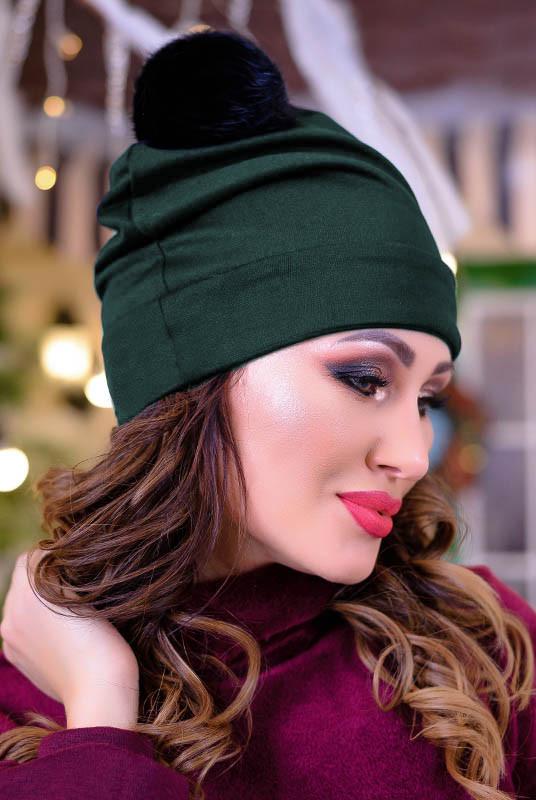 Модная женская шапка Песец, изумрудная