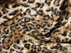 Флис рисунок гепард, бежево-белый