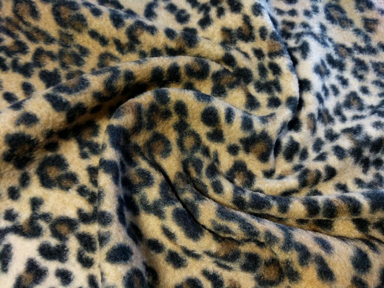 Флис рисунок гепард, бежевый