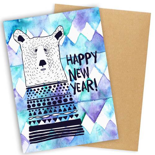 """Открытка с конвертом  """"Happy New Year!"""" 11х15см"""