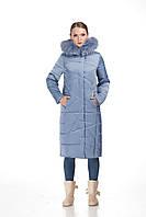 Зимнее стеганое пальто ORIGA Дакота енот 52 Голубой (Or-P-En-000054)