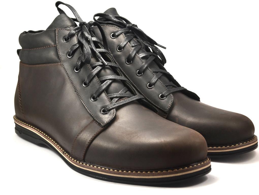 Большой размер коричневые ботинки мужские зимние кожаные Rosso Avangard BS Bridge Сomfort Brown Crazy Leather