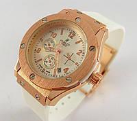 Часы женские наручные Hublot Geneve 3920L белые с бронзой