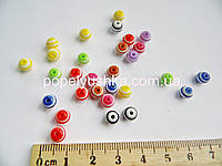 Намистини круглі полімерні 8 мм МІХ в полоску (10 шт.)