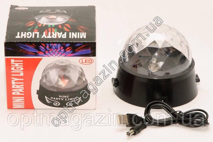 Светомузыкальный проектор вращающийся Диско-шар Mini Party Light, фото 2