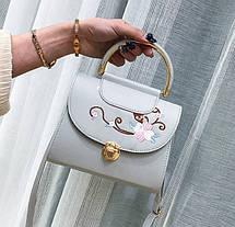 Ніжна сумка скриня з квітами та круглою ручкою, фото 2