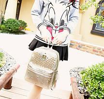 Стильный рюкзак под крокодил с заклепками , фото 3