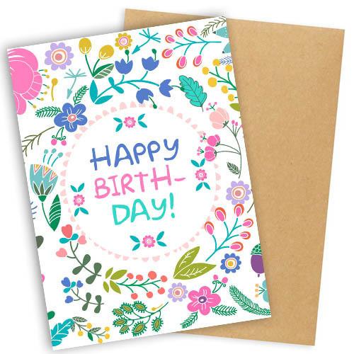 """Открытка с конвертом  """"Happy Birthday"""" 11х15см"""