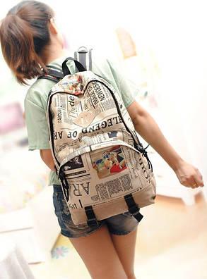 Місткий рюкзак міський з принтом газети, фото 2