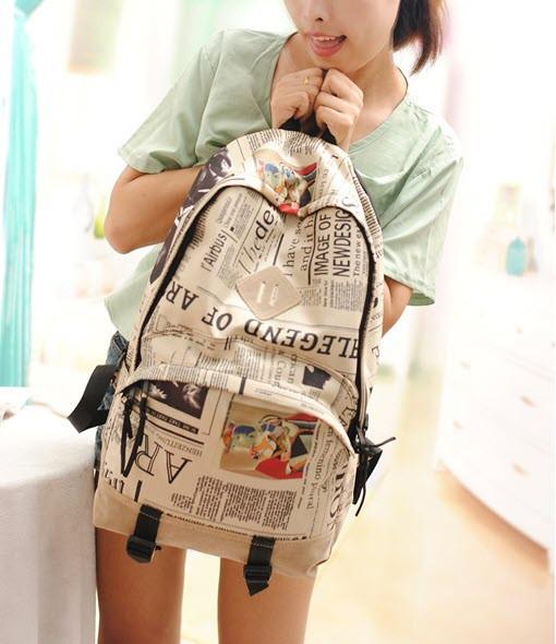 Місткий рюкзак міський з принтом газети