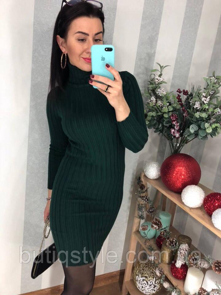 Элегантное женское платье под горло серое, зеленое, синее