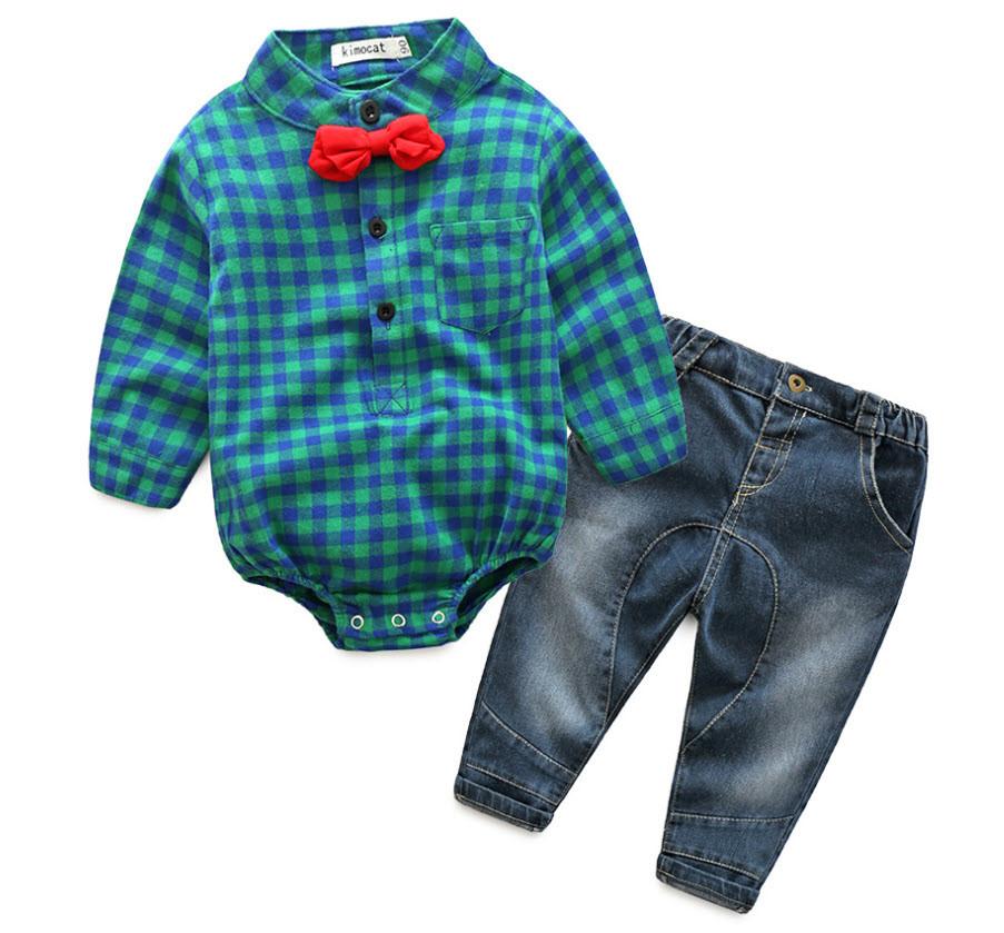 Комплект джинсы и боди-рубашка  с бабочкой (зел)70