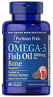 Puritan's Pride Omega-3 Fish Oil 1000 mg Plus Bone Support 60 softgels, Омега 3 1000 мг 60 капсул