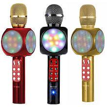 Беспроводной микрофон с цветомузыкой и динамиком Wster WS-1816 USB AUX FM
