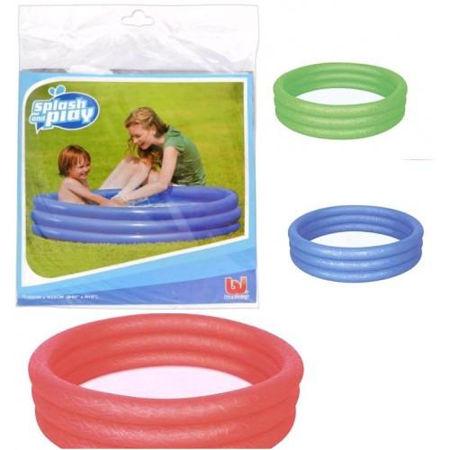 Бассейн BW 51024 детский круглый 3 кольца 102-25см рем зап 101литр 3 цвета в кульке