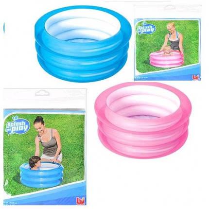 Бассейн BW 51033 детский круглый 3 кольца 43литра +рем.заплата 70-30см 2 цвета в кульке, фото 2
