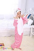 Теплая, мягкая детская  пижама Кигуруми Hello Kitty в горошек - 140  (на рост 140-150см)