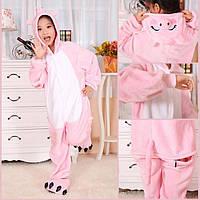 Теплая, мягкая детская пижама Кигуруми розовый поросенок (свинка пеппа) - 140см (на рост 140-150см )