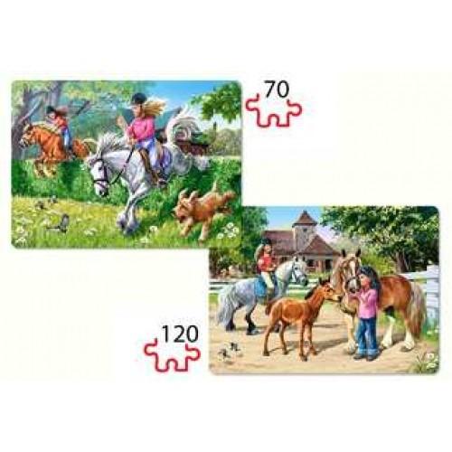 Пазл Касторленд 2 x 1 (062) Дівчатка на конях 32*23 см (6+)
