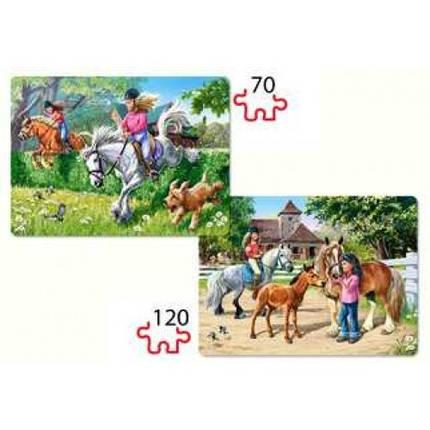 Пазл Касторленд 2 x 1 (062) Дівчатка на конях 32*23 см (6+), фото 2