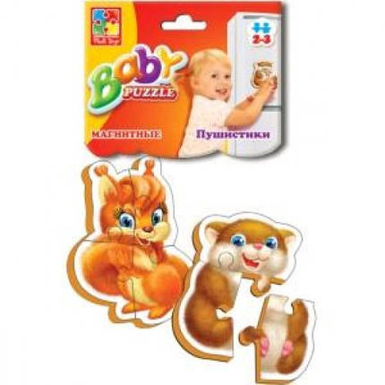 Бебі пазли магнітні:3208-04 Пухнастики (Vladi Toys), фото 2