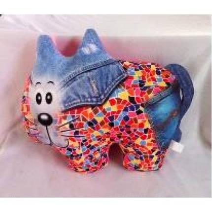 Антистресова іграшка м`яконабивна DT-ST-01-61 SOFT TOYS Кіт джинсовий, фото 2