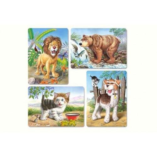 Пазл Касторленд 4 x 1 (8 12 15 20ел) (041) Тварини 23*16 5 см