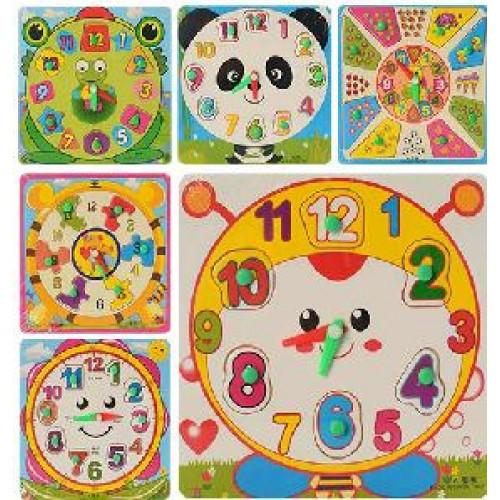 Деревянная игрушка Часы MD 0959 рамка-вкладыш с ручкой 6 видов в кульке 18-18-1см