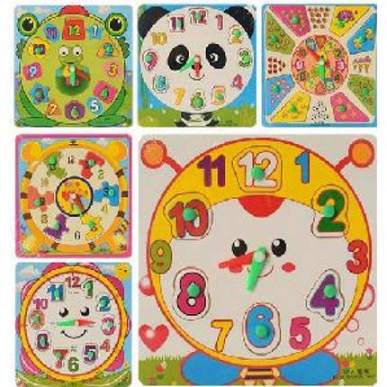 Деревянная игрушка Часы MD 0959 рамка-вкладыш с ручкой 6 видов в кульке 18-18-1см, фото 2