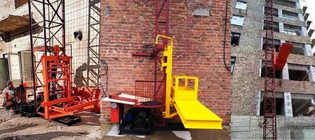 Висота підйому Н-35 метрів. Щогловий підйомник для подачі будматеріалів, будівельні підйомники 500 кг., фото 2