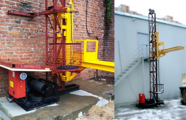 Висота підйому Н-27 метрів. Щоглові підйомники для подачі будматеріалів, Будівельний підйомник на 500 кг.