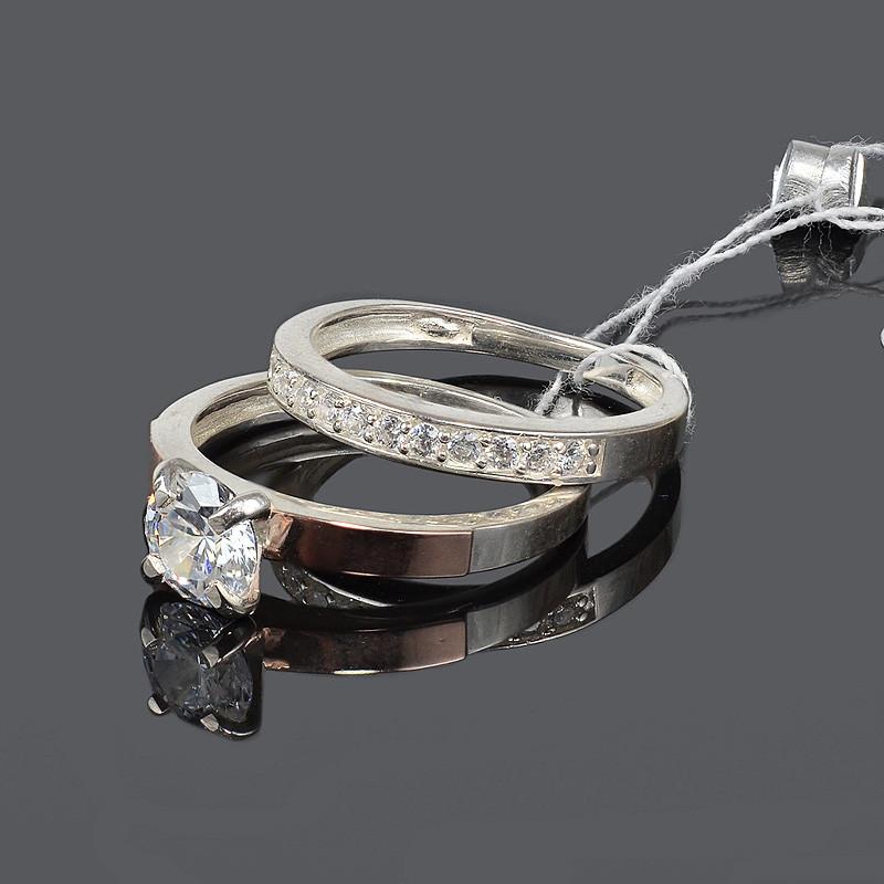 Женское двойное кольцо - серебро с золотом