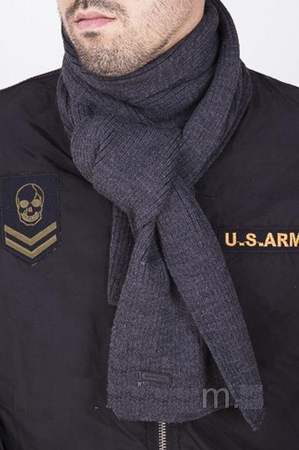 Чоловічий довгий в'язаний шарф колір темно сірий 182х24