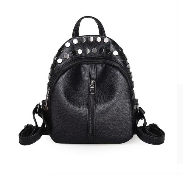 Рюкзак женский мини черный с заклепками