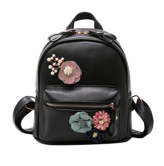 Рюкзак женский кожзам с цветами Черный