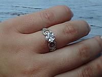 Серебряное кольцо с белым камнем, фото 1