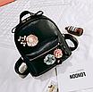 Рюкзак женский кожзам с цветами Черный, фото 3