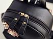 Рюкзак женский кожзам с цветами Черный, фото 4
