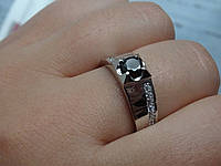 Срібний перстень з чорним каменем, фото 1