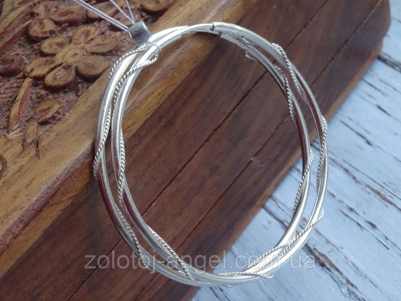 Оригинальные Серебряные серьги - кольца 52мм.