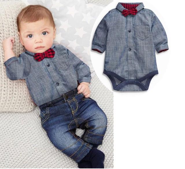 Комплект джинсы и боди-рубашка с красной бабочкой (сер)  95