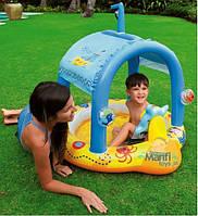 Детский надувной бассейн Intex 57426 с навесом «Маленький капитан»