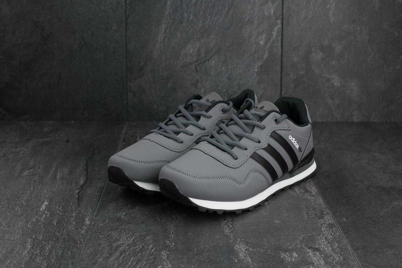 Кроссовки A 1807-3 (Adidas Haven Collegiate) (весна-осень, мужские, кожзам, серо-черный)