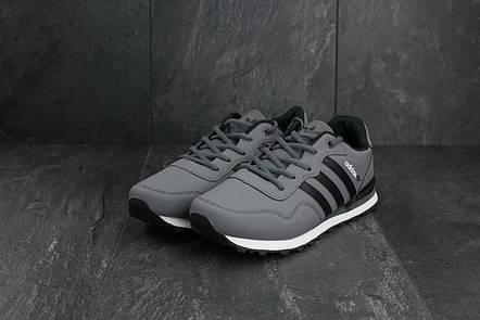 Кроссовки A 1807-3 (Adidas Haven Collegiate) (весна-осень, мужские, кожзам, серо-черный), фото 2