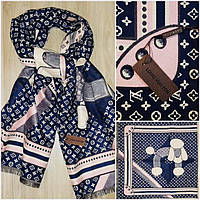 Палантин шарф бренда репликаLouis Vuitton синий